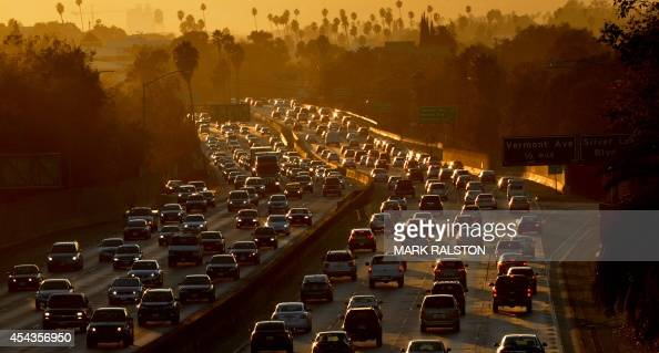 Heavy traffic clogs the 101 Freeway as people leave work for the Labor Day holiday in Los Angeles on August 29 2014 A Labor Day travel prediction by...