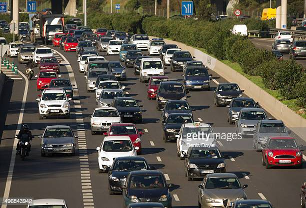 Heavy traffic is seen after Madrid City Council reduced the speed limit on roads approaching and around the Spanish capitall to 70km per hour on...