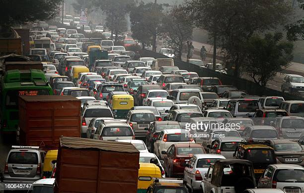 Heavy Traffic jam at Outer Ring road near Vasant Vihar due to rains on February 4 2013 in New Delhi India MeT Office has predicted that the capital...
