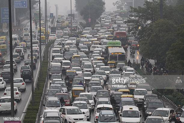 Heavy traffic jam at Vikas Marg on February 5 2013 in New Delhi India The persistent rains since late last night break the seven decade old record...