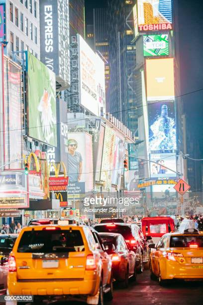 Heavy traffic on Times Square at night, Manhattan, New York City, United States