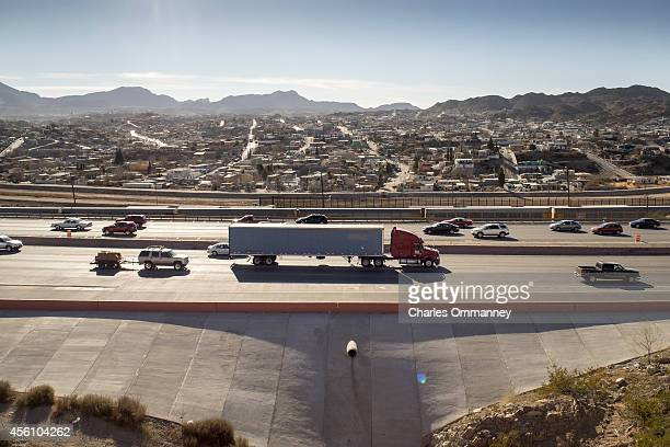 Heavy traffic on US10 overlooking El Paso and the Mexican border city of Juarez January 18 2014