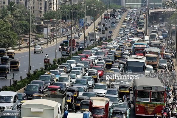 Heavy Traffic on Western Express Highway Railway motorman goes on stick on last 2 day