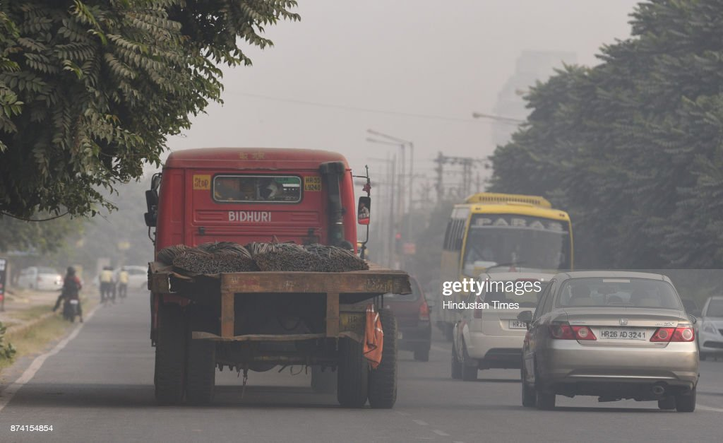 Heavy vehicle running in the city, in afternoon, on November 14, 2017 in Gurgaon, India. Delhi battled with severe air pollution on Tuesday as well. The Air Quality Index improved to an average reading of 308, even as the Delhi government extended the ban on entry of trucks. Here are the live updates of the situation in the National Capital Region.