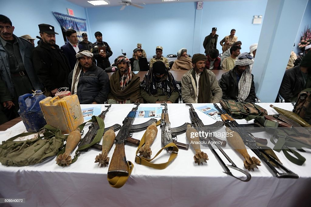 Heavy weapons and varied ammunitions are seen after 11 Taliban militants laid their weapons and surrendered to Afghani security forces in Herat, Afghanistan on February 10, 2016.