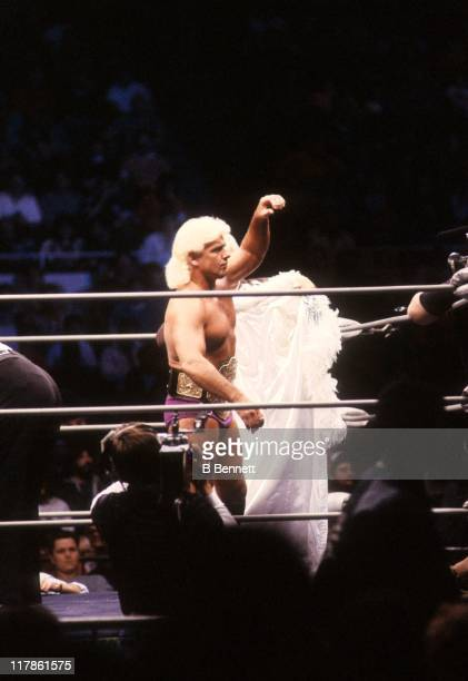 Heavy Weight Champion 'Nature Boy' Rick Flair enters the ring before his Heavy Weight bout against Road Warrior Hawk during the 1988 Bunkhouse...
