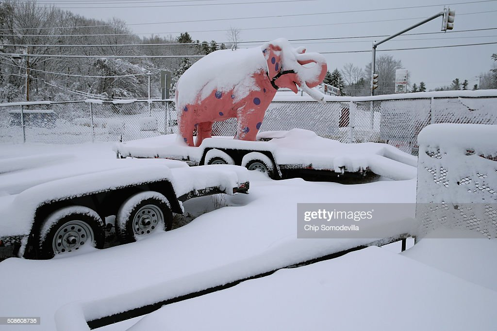 Heavy, wet snow covers a carnival statue of an elephant, the traditional mascot of the Republican party, February 5, 2016 in Derry, New Hampshire. With only four days to go until the 'First in the Nation' primaries, candidates from both parties braved the winter weather to campaign.