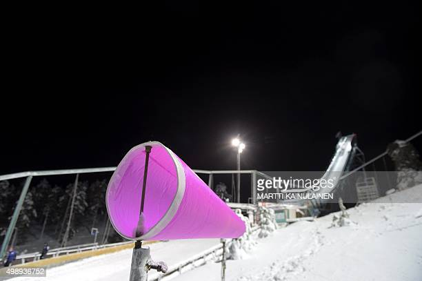 Heavy wind blows while the start of Ski Jumping Large Hill HS142 Individual practice round is postponed due to severe wind conditions at the FIS Ruka...