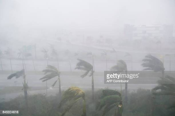 Heavy winds and rain from Hurricane Irma are seen in Miami Florida September 10 2017 Hurricane Irma's eyewall slammed into the lower Florida Keys...