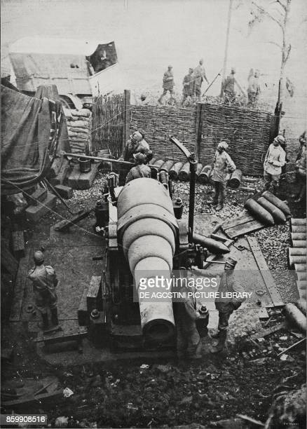 Heavycalibre gun in place on the Venezia Giulia front Italy World War I from L'Illustrazione Italiana Year XLIV No 38 September 22 1917