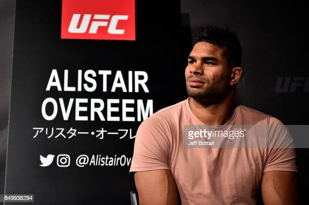UFC heavyweight Alistair Overeem of the Netherlands interacts with the media during the UFC Ultimate Media Day at the Park Hyatt on September 20 2017...