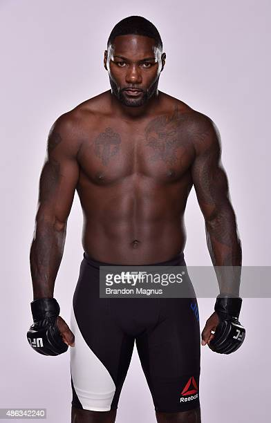 UFC heavyweight Anthony Johnson poses for a portrait during a UFC photo session on September 2 2015 in Las Vegas Nevada