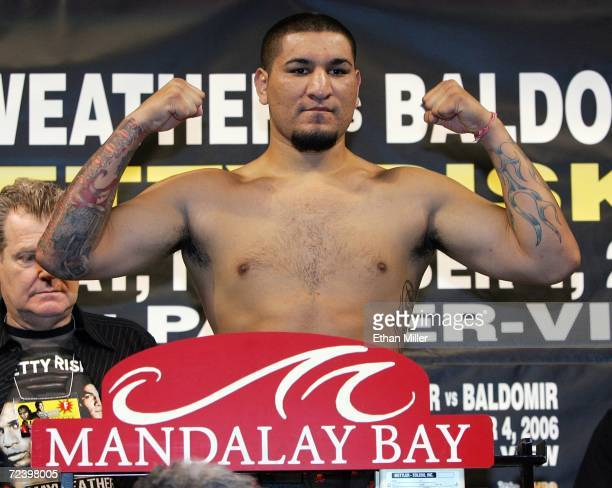 Heavyweight boxer Chris Arreola of California poses during his official weighin at the Mandalay Bay Events Center November 3 2006 in Las Vegas Nevada...