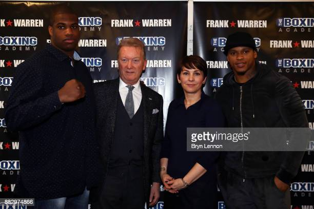 Heavyweight boxer Daniel Dubois Promoter Frank Warren Boxing Academy CEO Anna Cain and Light Heavyweight boxer Anthong Yarde pose for a photo during...