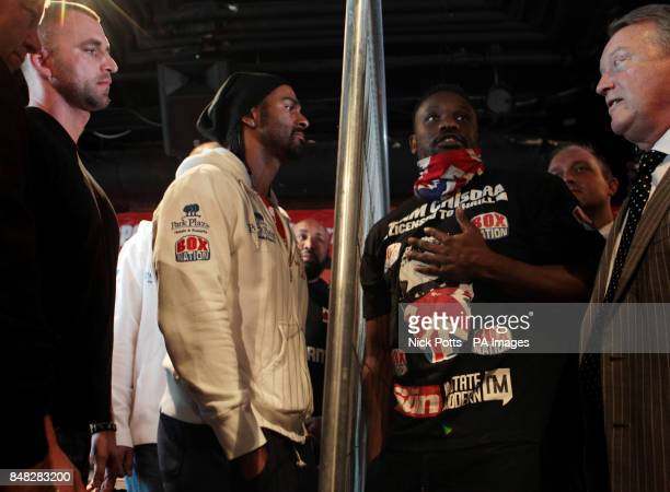 Heavyweight boxers David Haye discuss a bet for charity with Dereck Chisora watched by Promoter Frank Warren during the Head to Head at the Gilgamesh...