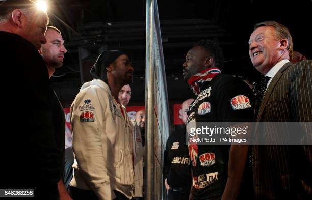Heavyweight boxers David Haye discuss a bet for charity with Dereck Chisora during the Head to Head at the Gilgamesh Restaurant Bar and Lounge London