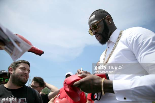Heavyweight boxing champion Deontay Wilder is seen during the International Boxing Hall of Fame induction Weekend of Champions event on June 11 2017...