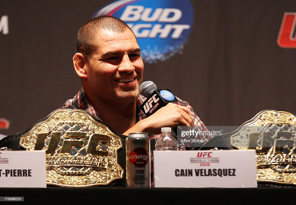 UFC heavyweight champion Cain Velasquez and interacts with the media during a press conference at Beacon Theatre on July 31, 2013 in New York City.