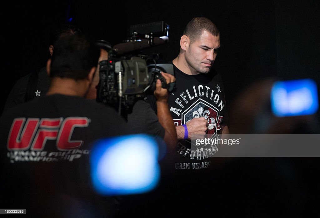 UFC heavyweight champion Cain Velasquez walks to the stage during the UFC 166 weigh-in at the Toyota Center on October 18, 2013 in Houston, Texas.