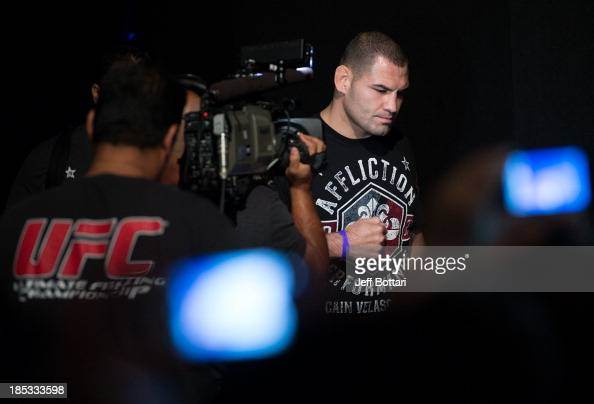 UFC heavyweight champion Cain Velasquez walks to the stage during the UFC 166 weighin at the Toyota Center on October 18 2013 in Houston Texas
