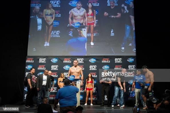 UFC heavyweight champion Cain Velasquez weighs in during the UFC 166 weighin at the Toyota Center on October 18 2013 in Houston Texas