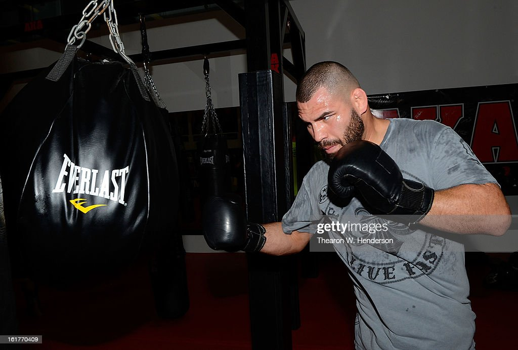 Heavyweight Champion <a gi-track='captionPersonalityLinkClicked' href=/galleries/search?phrase=Cain+Velasquez&family=editorial&specificpeople=5445619 ng-click='$event.stopPropagation()'>Cain Velasquez</a> works out at AKA San Jose on February 15, 2013 in San Jose, California.
