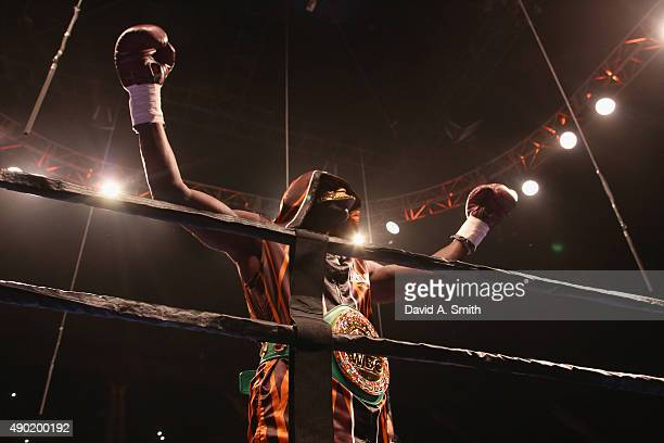 Heavyweight Champion Deontay Wilder enters the ring for his fight with Johann Duhaupas at Legacy Arena at the BJCC on September 26 2015 in Birmingham...