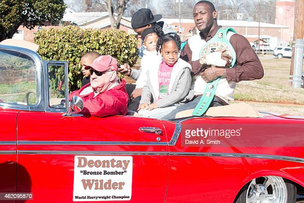 Heavyweight Champion Deontay Wilder is honored in a parade on January 24 2015 in Tuscaloosa Alabama