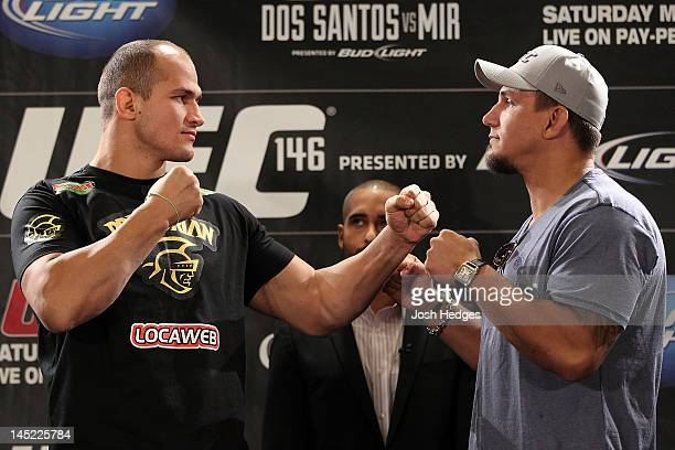 UFC Heavyweight Champion Junior dos Santos and challenger Frank Mir face off during the UFC 146 press conference at MGM Grand on May 24 2012 in Las...