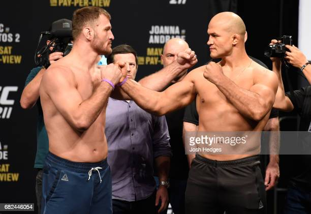 UFC heavyweight champion Stipe Miocic and Junior Dos Santos of Brazil face off during the UFC 211 weighin at the American Airlines Center on May 12...
