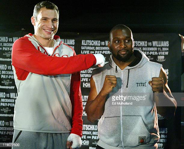 WBC Heavyweight Champion Vitali Klitschko and challenger Danny Williams pose after an open workout session at Copacabana in New York City The two...