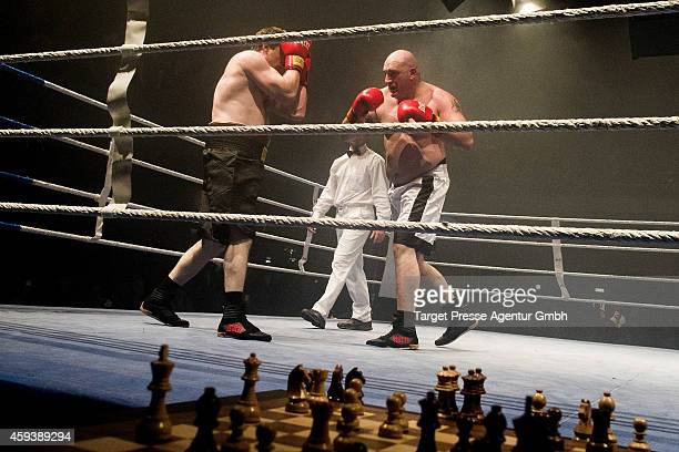 Heavyweight chessboxer Marat Shakhmanov of Russia competes against Gianluca Sirca of Italy in a qualification fight fort he World Championship at...