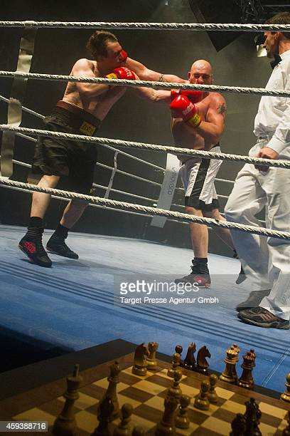 Heavyweight chessboxer Marat Shakhmanov of Russia competes with Gianluca Sirca of Italy in a qualification fight for the World Championship at...