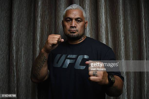 UFC heavyweight contender Mark Hunt poses during the Ultimate Media Day on March 18 2016 in Brisbane Australia