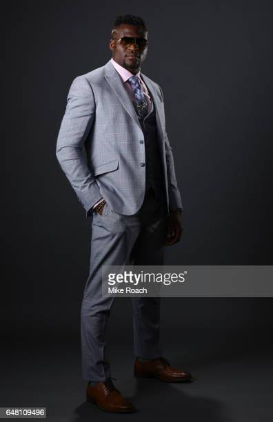 UFC heavyweight fighter Francis Ngannou poses for a portrait backstage during the UFC 209 event at TMobile Arena on March 4 2017 in Las Vegas Nevada
