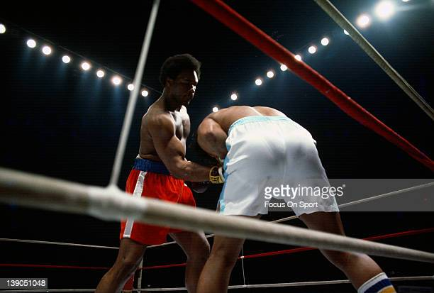 Heavyweight fighter George Foreman left fights Jerry Judge right in the second of five three round bout Forman fought on April 26 1975 at the Maple...