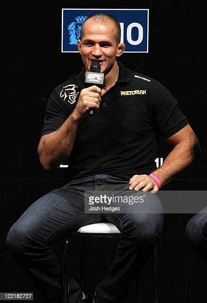 UFC heavyweight fighter Junior dos Santos attends a special QA session before the UFC 134 official weighin at HSBC Arena on August 26 2011 in Rio de...