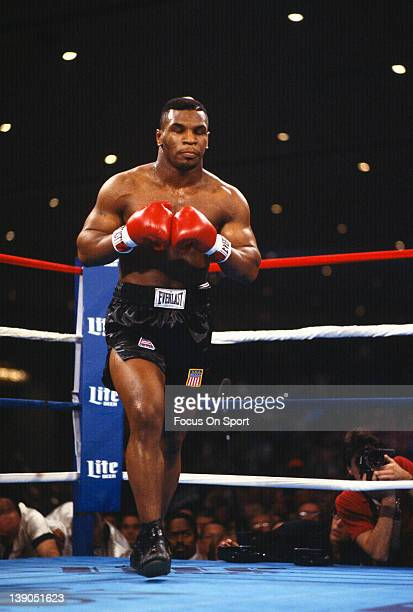 Heavyweight fighter Mike Tyson comes out of his corner during a scheduled twelve round WBC heavyweight title fight against Trevor Berbick at the...