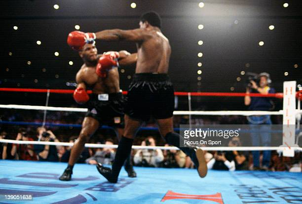 Heavyweight fighter Mike Tyson left fights Trevor Berbick right in a scheduled twelve round WBC heavyweight title fight at the Hilton Hotel in Las...