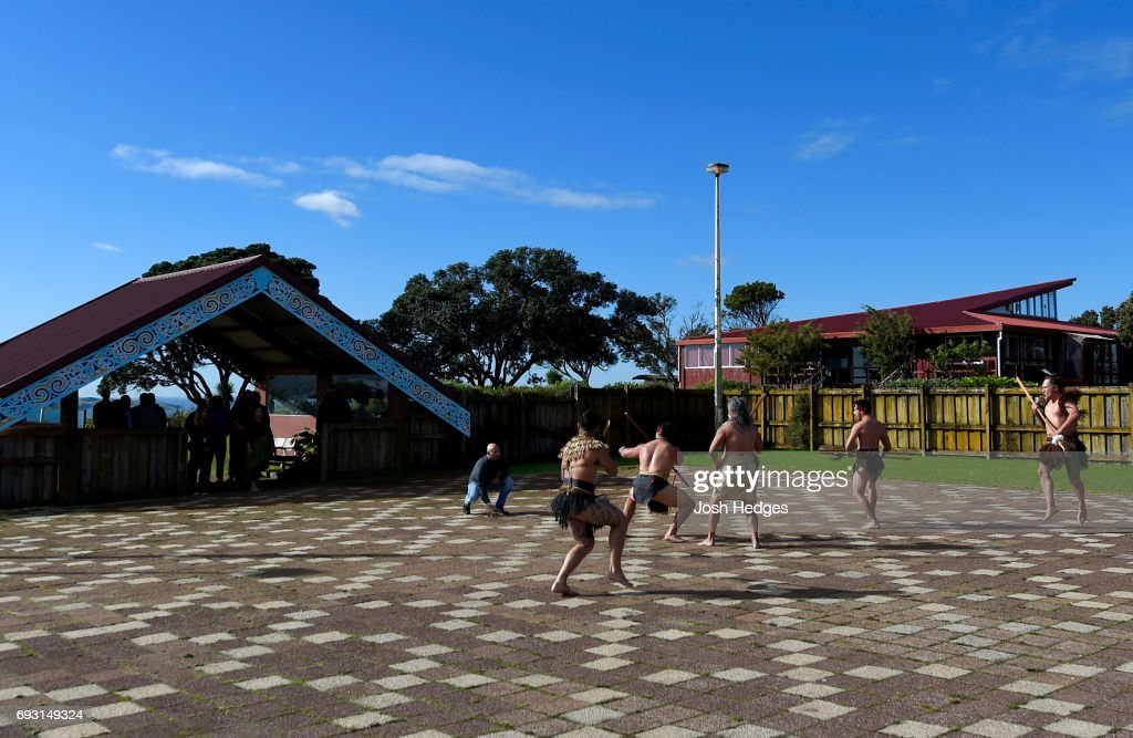 Heavyweight fighters Mark Hunt of New Zealand and Derrick Lewis of the United States receive a traditional welcome from the Ngti Whtua tribe ahead of their fight at the Orakei Marae on June 7, 2017 in Auckland, New Zealand.