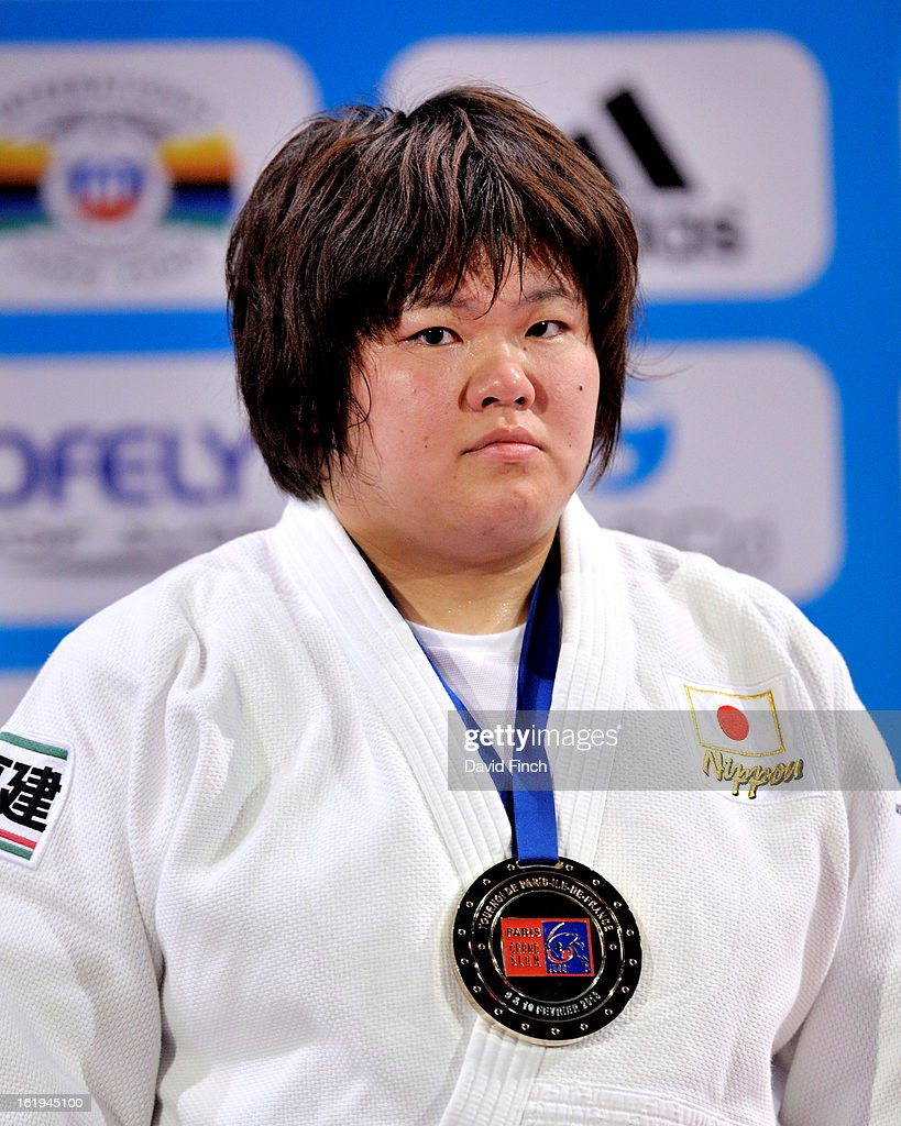 Heavyweight gold medallist, <a gi-track='captionPersonalityLinkClicked' href=/galleries/search?phrase=Megumi+Tachimoto&family=editorial&specificpeople=5645971 ng-click='$event.stopPropagation()'>Megumi Tachimoto</a> of Japan, at the Paris Grand Slam on day 2, Sunday, February 10, 2013 at the Palais Omnisports de Paris, Bercy, Paris, France.