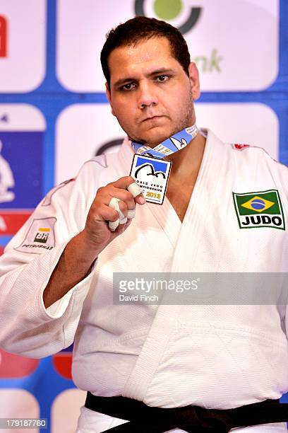 Heavyweight silver medallist Rafael Silva of Brazil at the Rio World Judo Championships on Day 6 at the Gympasium Maracanazinho on August 31 2013 in...