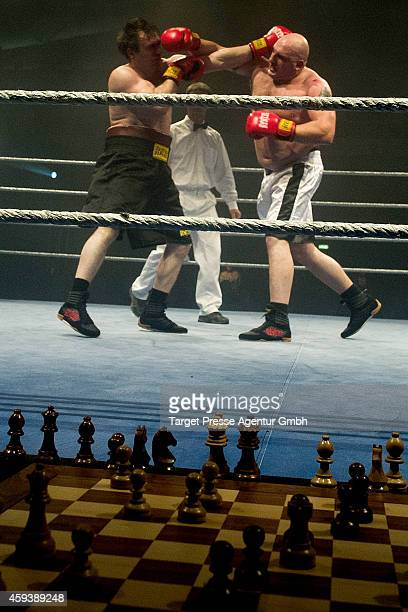 Heavyweigt chessboxer Marat Shakhmanov of Russia competes against Gianluca Sirca of Italy in a qualification fight for the World Championship at...