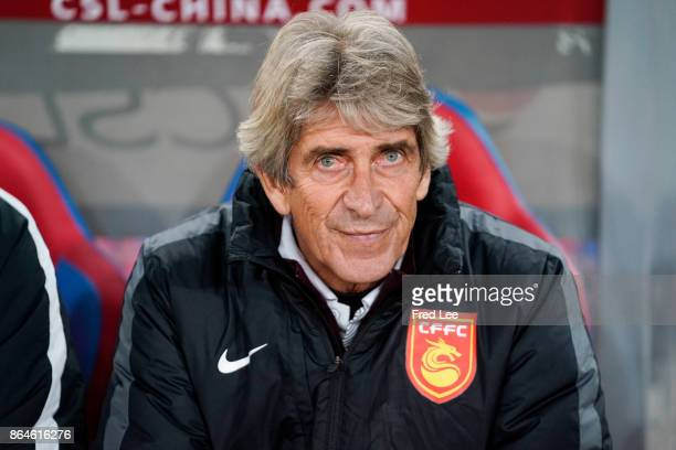 Hebei China Fortune FC head coach Manuel Luis Pellegrini Ripamonti reacts during the Chinese Super League match between Tianjin Quanjian FC and Hebei...