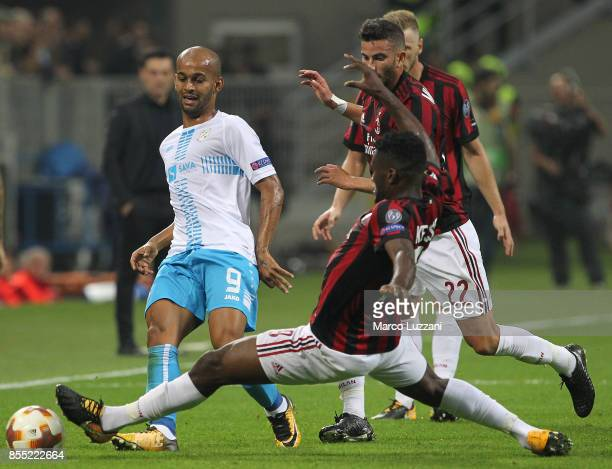 Heber of HNK Rijeka competes for the ball with Franck Kessie of AC Milan during the UEFA Europa League group D match between AC Milan and HNK Rijeka...