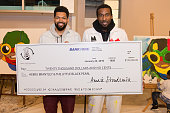 Hebru Brantley and Amar'e Stoudemire attend Amar'e Stoudemire and Melech Collection present 'In The Paint' Series with Hebru Brantley at Little Black...