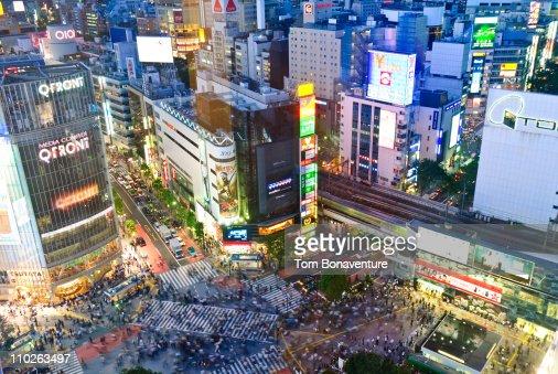 A hectic Shibuya Crossing