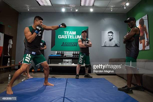 Hector Aldana warms up before facing Alvaro Herrera during the filming of The Ultimate Fighter Latin America Team Gastelum vs Team Escudero on April...