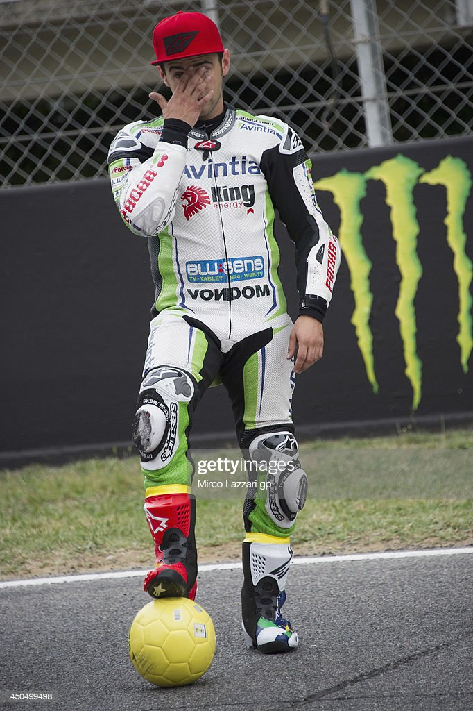 Hector Barbera of Spain and Avintia Racing poses during the event 'Launch of Alpinestars MotoGP World Cup Race Boot Design Series' on track during the MotoGp of Catalunya- Previews at Circuit de Catalunya on June 12, 2014 in Montmelo, Spain.