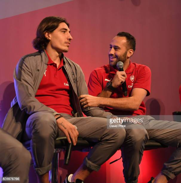 Hector Bellerin and David Ospina of Arsenal takes part in a QA during Memebers Day at Emirates Stadium on August 3 2017 in London England